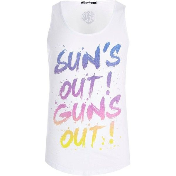 River Island White Friend or Faux sun's out print tank (€18) ❤ liked on Polyvore featuring men's fashion, men's clothing, men's shirts, men's tank tops, tops, sale, mens print shirts, mens scoop neck t shirt, mens white tank tops and mens patterned shirts