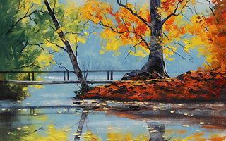 Обои autumn lake, Арт, рисунок, artsaus