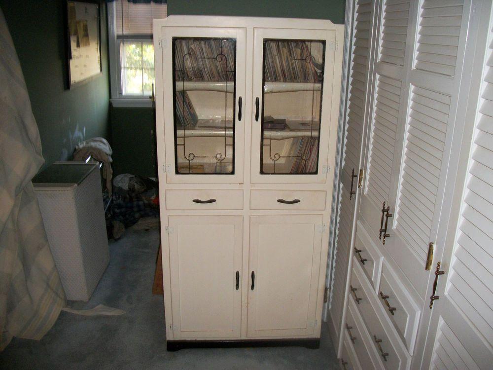 Vintage 1940s White Deco Wood Kitchen Cupboard Cabinet ...