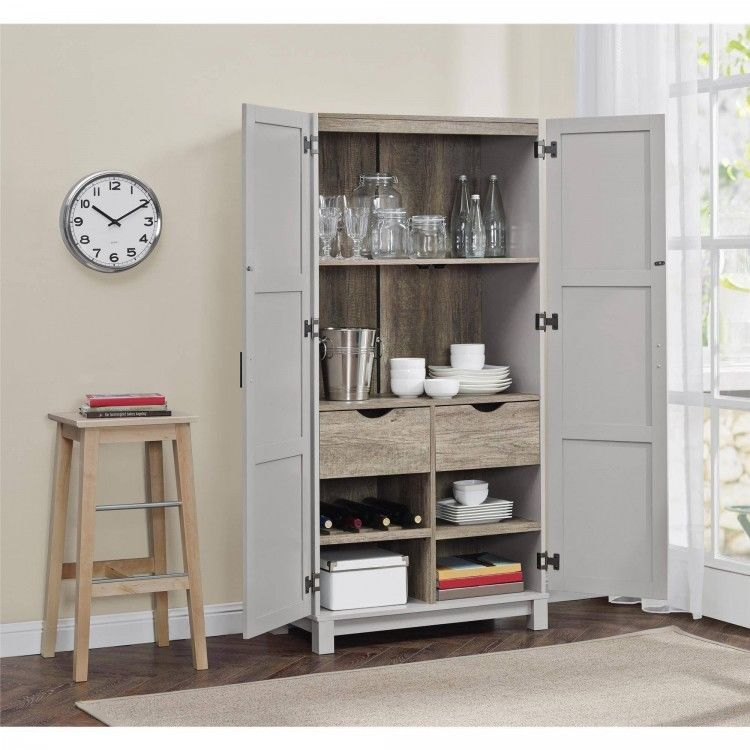 Kitchen Storage Cabinet Doors Shelves Drawers Home Pantry Organization Wood Gray Betterhomesandgarden Kitchen Cabinet Storage Storage Cabinet Storage Cabinets
