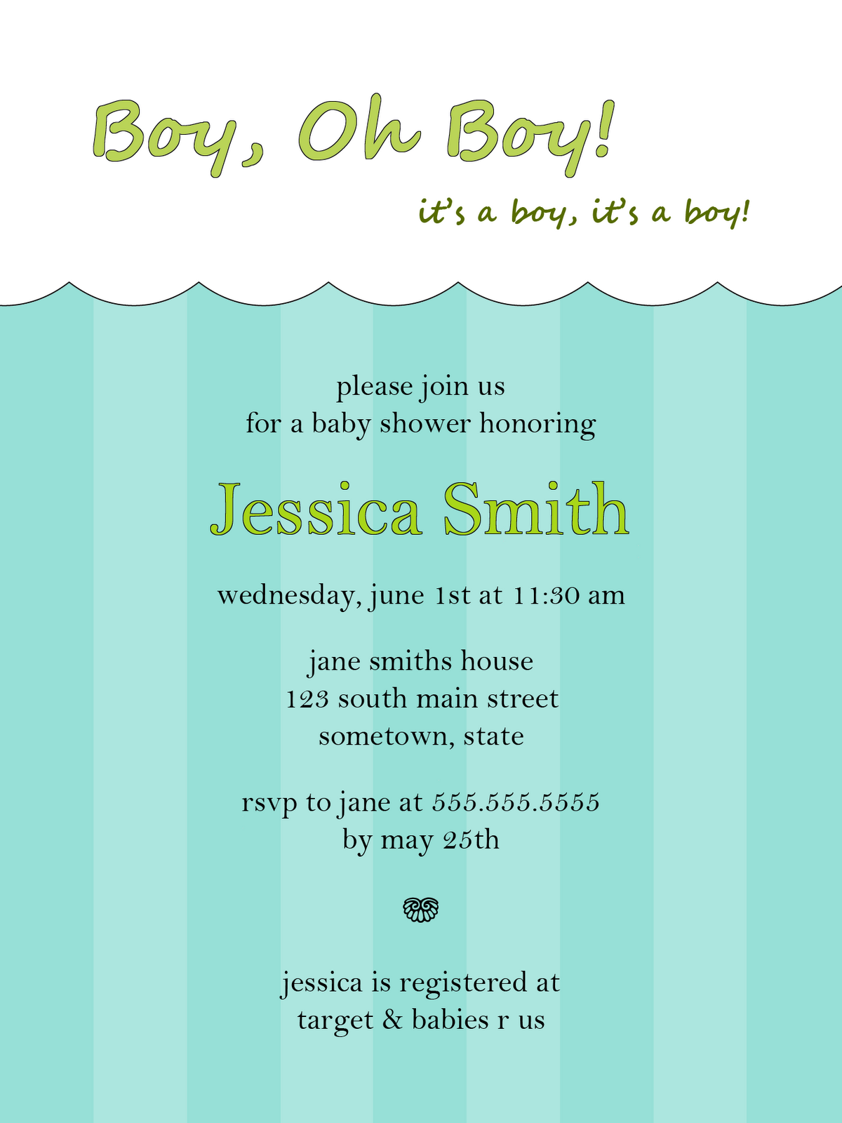 Free Baby Boy Shower Invitations | Elegant Invitations | Pinterest ...