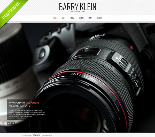HTML5 Photographer Responsive Website Template | wp themes ...