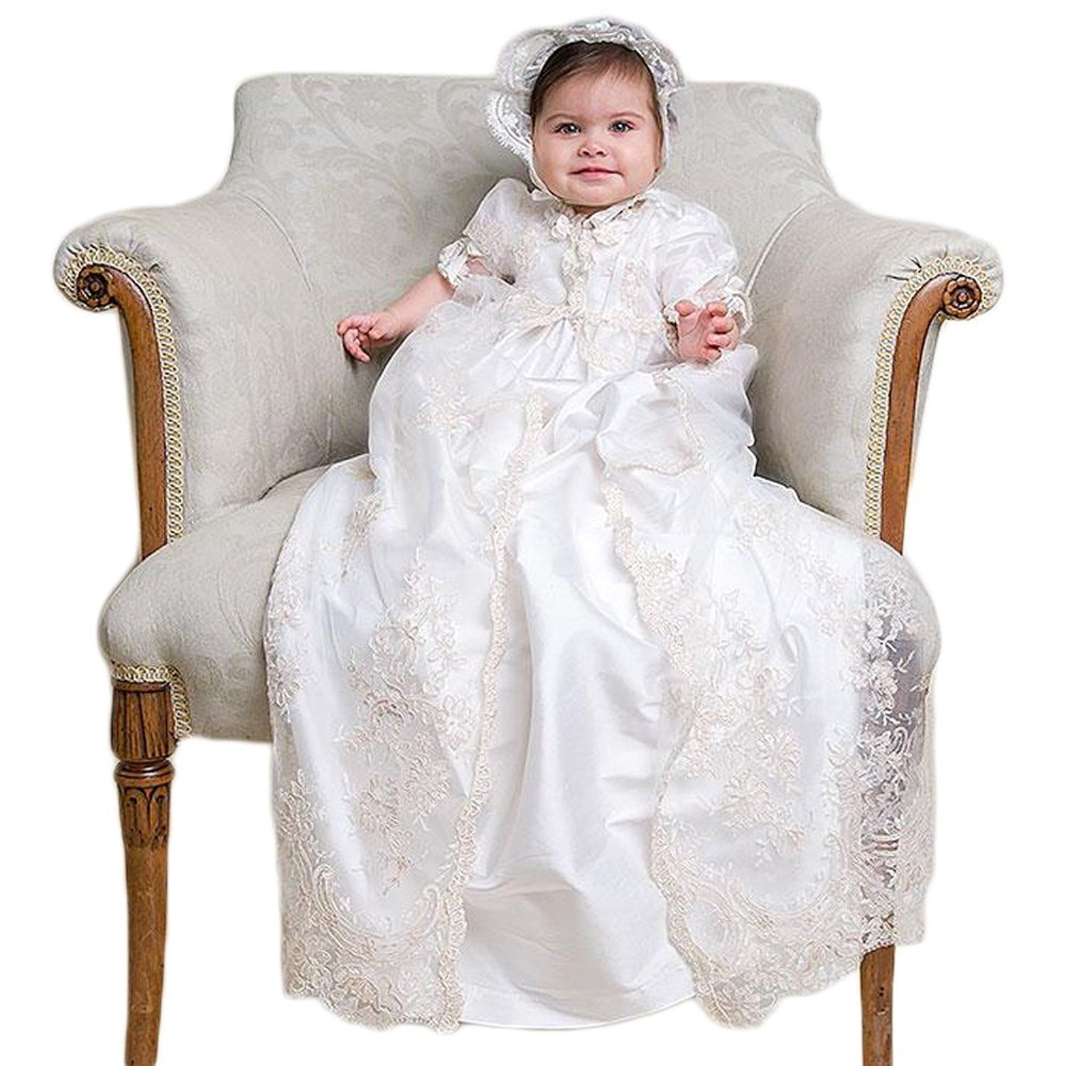 Fenghuavip Baby girls Long White Lace Infant Toddler Christening