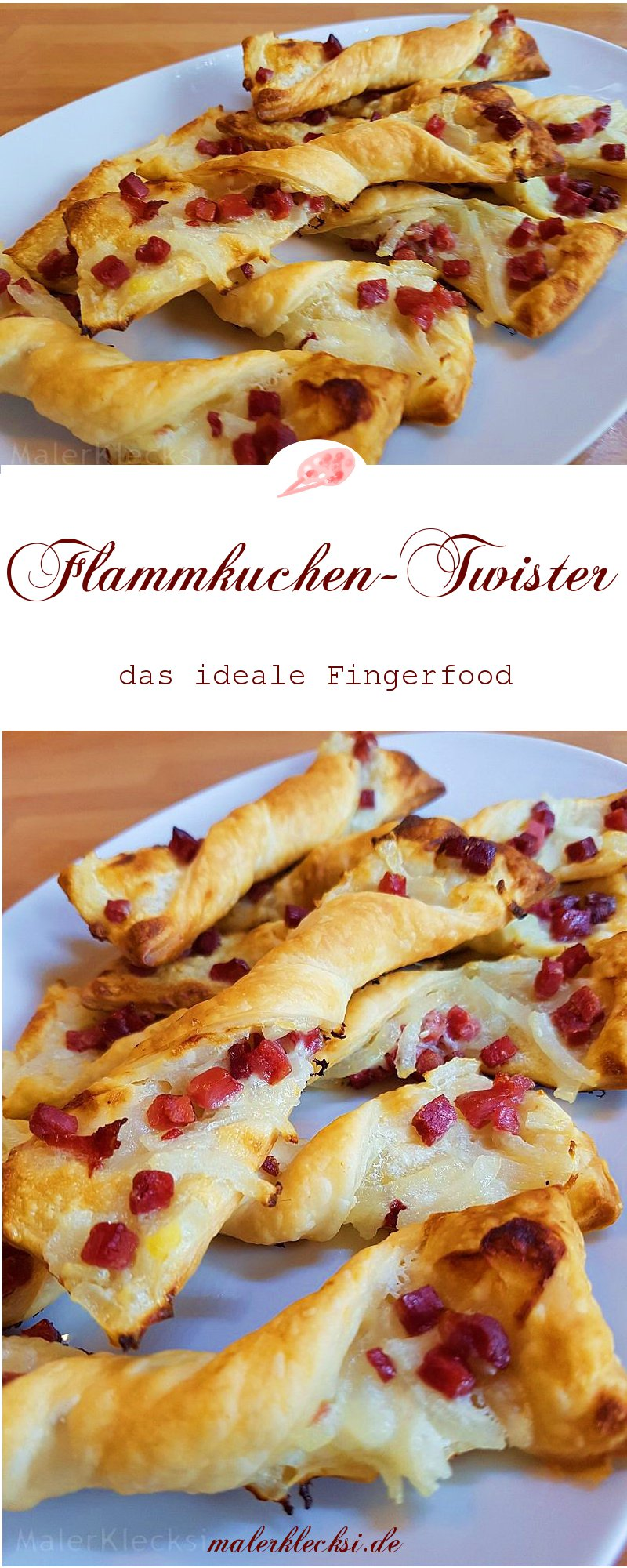 Flammkuchen-Twister, das ideale Fingerfood - MalerKlecksi
