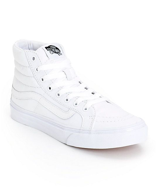 31c9b91a78 Take it back old school with the Vans Sk8 Hi Slim True White canvas skate  shoe. Designed with skating in mind