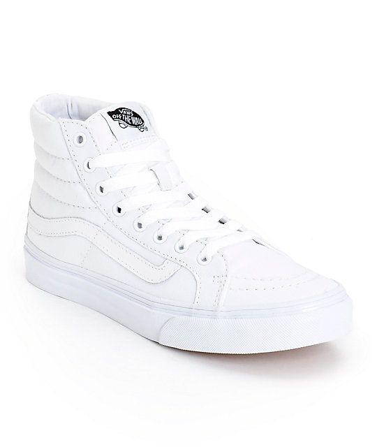 Vans Sk8 Hi Slim True White Skate Shoes Cool Vans Shoes Shoes Skate Shoes