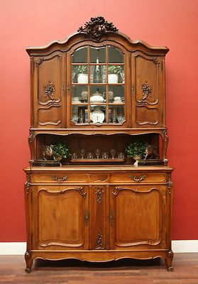 Antique French Walnut Bevelled Glass Bookcase China Cabinet Buffet Sideboard