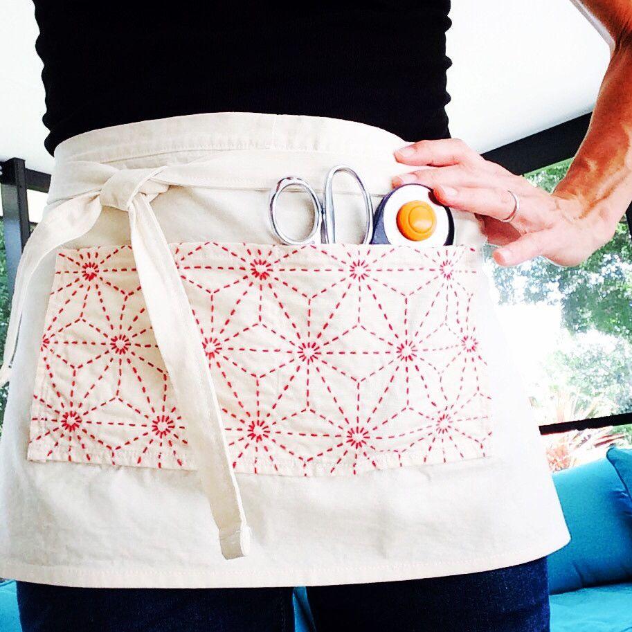 Sashiko Cafe Apron Cloth   Blumen nähen, Kreatives gestalten und ...