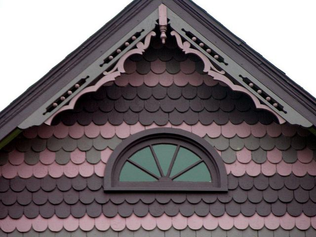 On victorian and queen anne buildings fish scale shingles for Victorian shingles