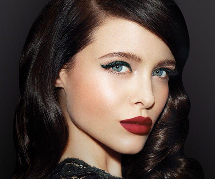 Dark Green Eyeliner Paired With Dark Red Lipstick Hair Makeup