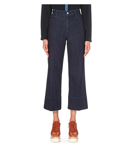 STELLA MCCARTNEY Cropped Wide-Leg High-Rise Jeans. #stellamccartney #cloth #jeans & denim