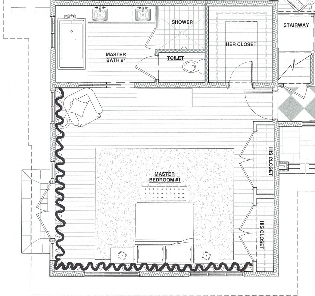 Awesome modern master suite floor plans with master for Master bedroom and bath plans