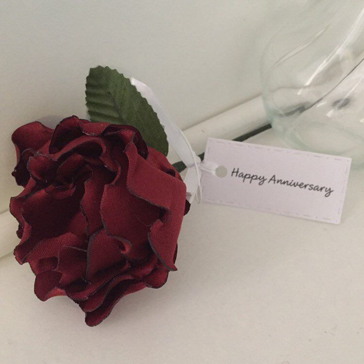 Personalised 4th 12th Wedding Anniversary Fabric Flowers Gift For