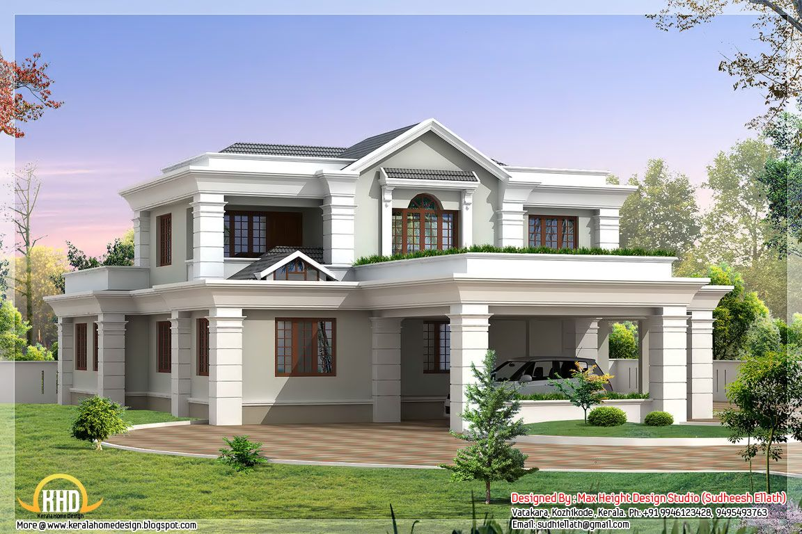 Homes with carports in the front beautiful indian house for Beautiful kerala house plans