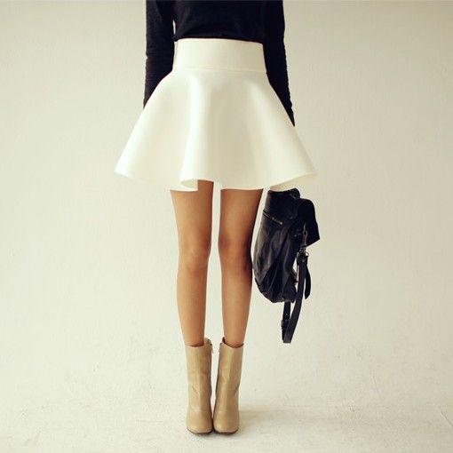 Flared Puff Skirt Mini Skater Ball Gown Short High Waist Cotton ...
