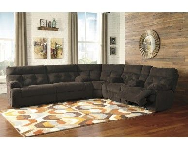 3 Piece Recliner Sectional Chocolate Sam Levitz Furniture Sam