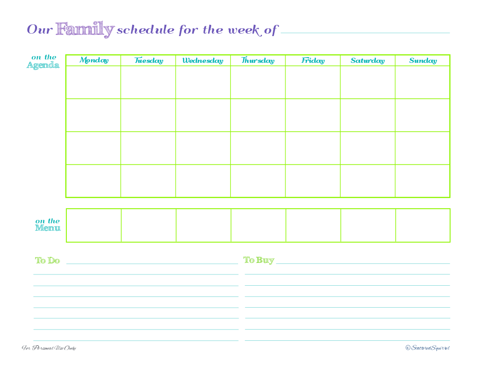 Weekly Family Planner Printable – Family Agenda