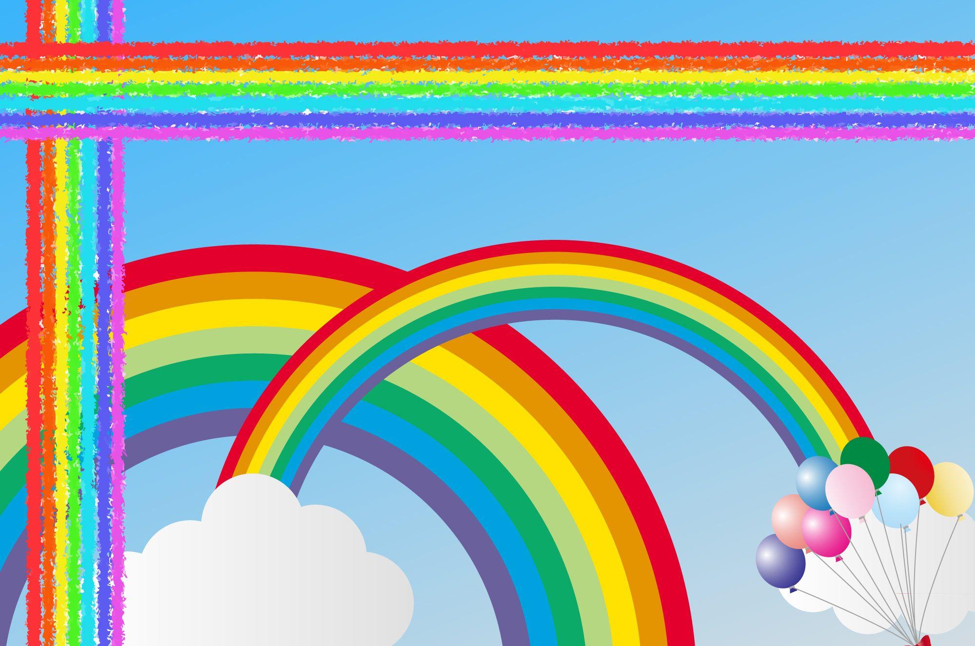 虹イラスト可愛いくて綺麗な虹の無料イラスト素材水彩で描いたり