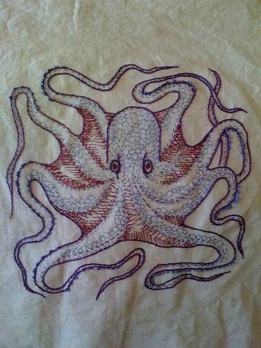 Octopus - first embroidery - by greeneggsandham on craftster