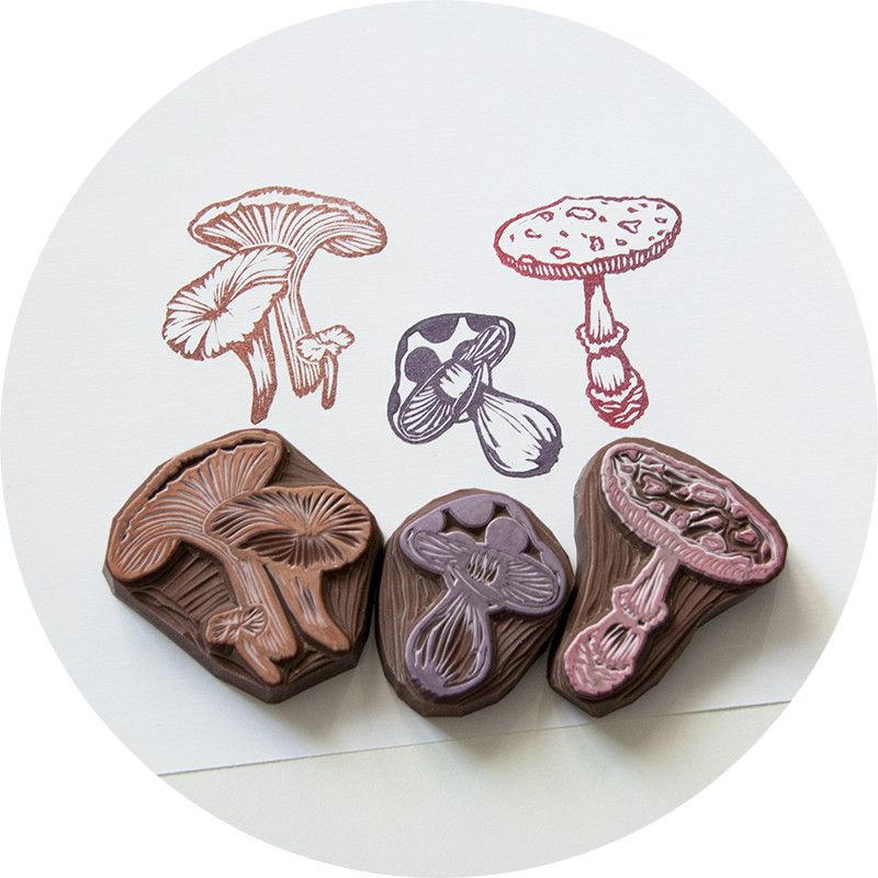 Mushrooms, Hand Carved Rubber Stamp Set