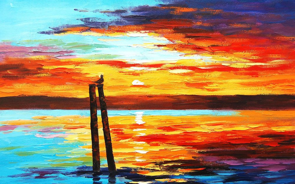 Закат на море картинки красками
