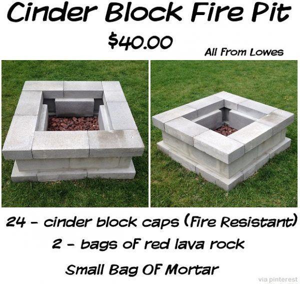 55 Cool Inspiring Diy Outdoor Fire Pit Ideas For Comfortable Garden Design Cinder Block Fire Pit Fire Pit Fire Pit Designs