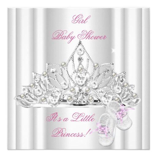 baby shower girl white pink princess tiara personalized invite, Baby shower invitations