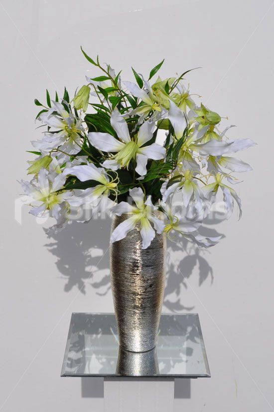 Artificial white gloriosa and high quality foliage floral shop artificial white gloriosa and high quality foliage floral arrangement w silver vase online from mightylinksfo
