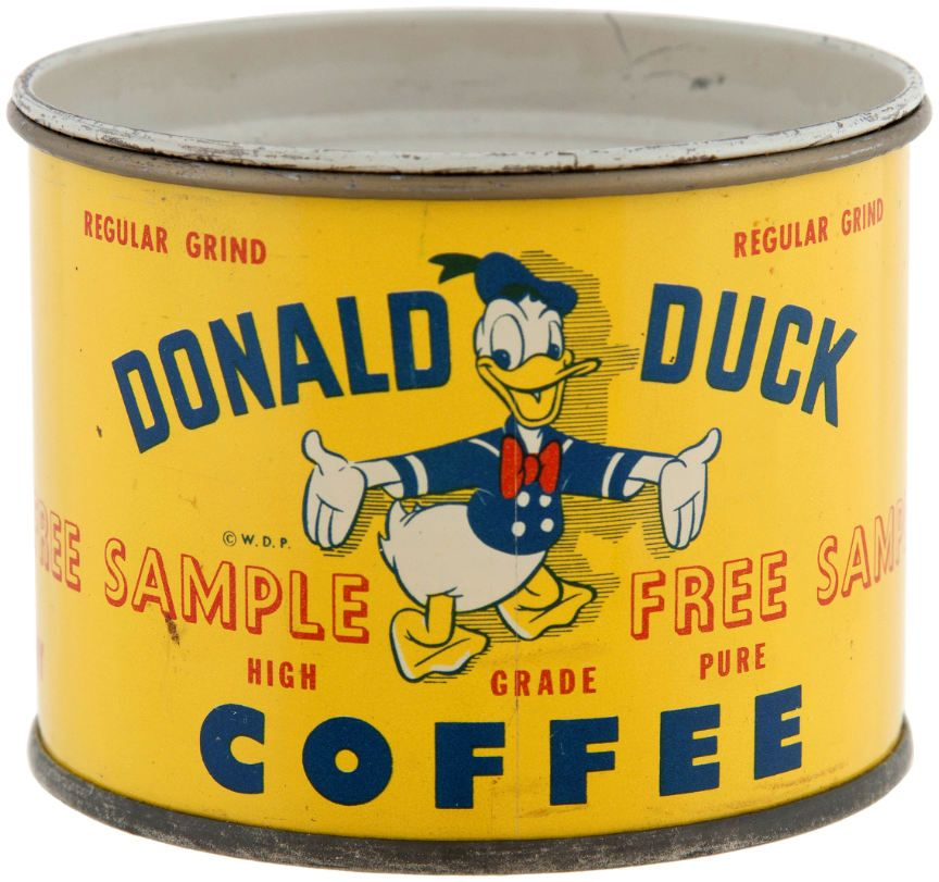 Donald Duck Coffee Sample Tin Boites Anciennes Boite Metallique Boite Metal