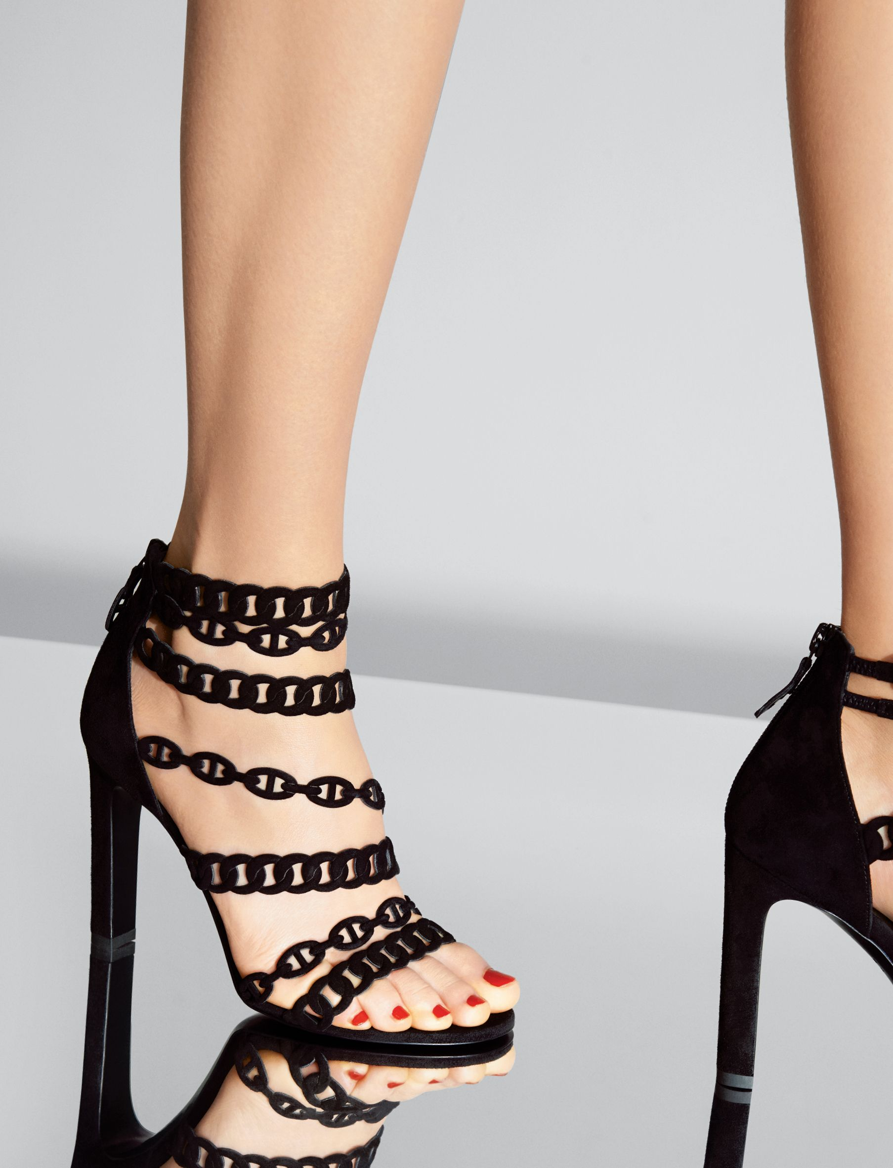 Hermes sandals dance shoes - Sandal In Black Suede Goatskin With Cha Ne D Ancre Design Hermes Shoes