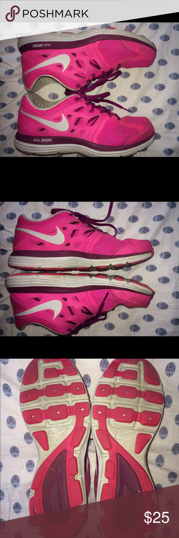 Nike Dual Fusionlite These are a size 8.5! They are pink and fit comfortable! They are perfect for running or just for class!! Will clean before shipping!! Nike Shoes Athletic Shoes