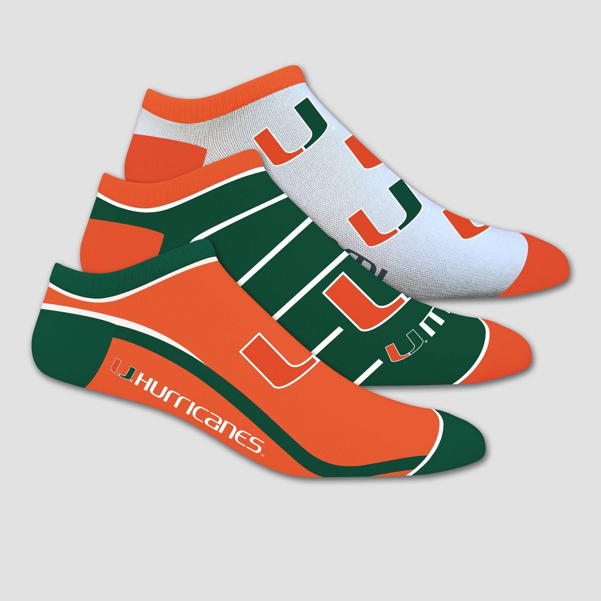 NCAA Miami Hurricanes 100 Yard Dash 3pk No Show, Size 9