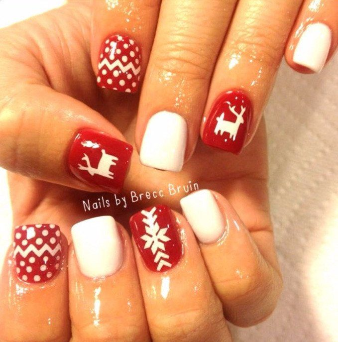 Ugly Sweater Deer Design 1 Nail Decal White Nails Pinterest