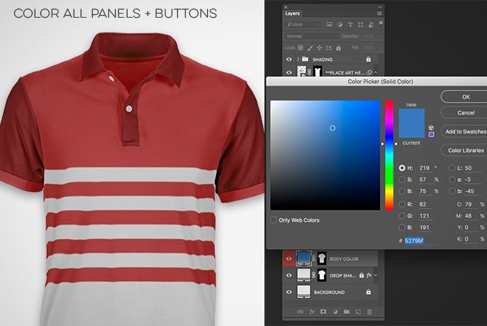 Color all Polo Shirt panels and buttons. Prepress Toolkit Pro Ghosted  templates for Photoshop. 925f1e8c9