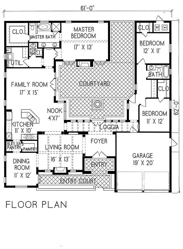 Villa Sublaco 1 1215 Period Style Homes Plan Sales 2350 S F 3 Bedroom 2 1 2 Bath 1 Story Spanish Style Courtyard House Plans House Floor Plans Floor Plans