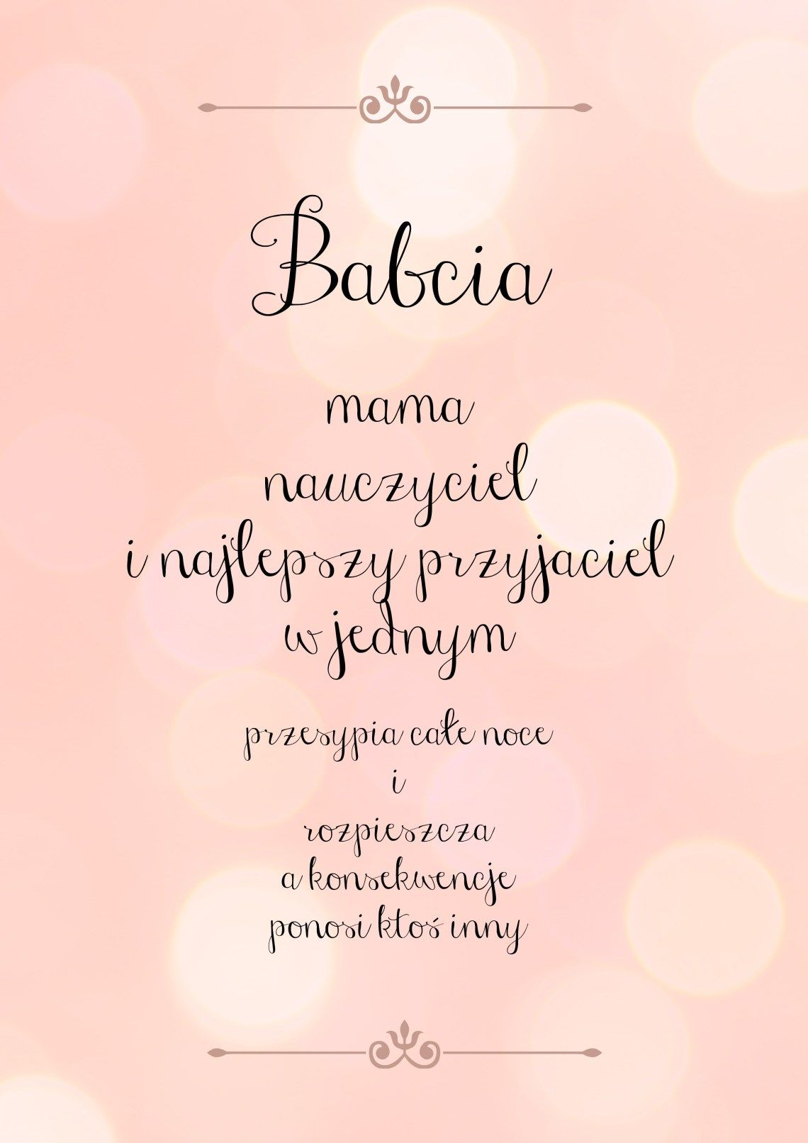 Babcia Hobby Inspirational Quotes Kids Poster Words