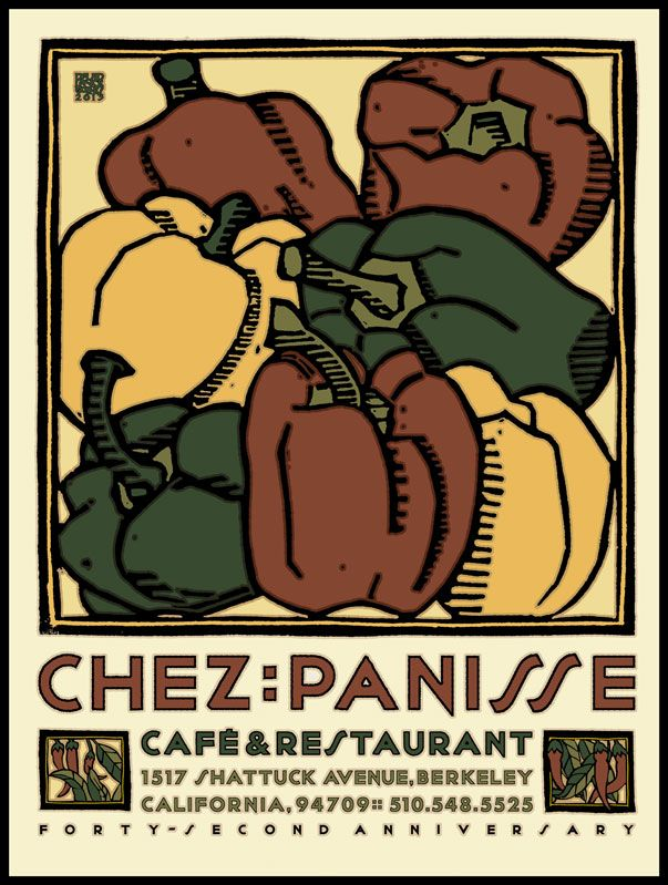Art Deco Poster//Kitchen Decor//Chez Panisse Restaurant// 21st Birthday