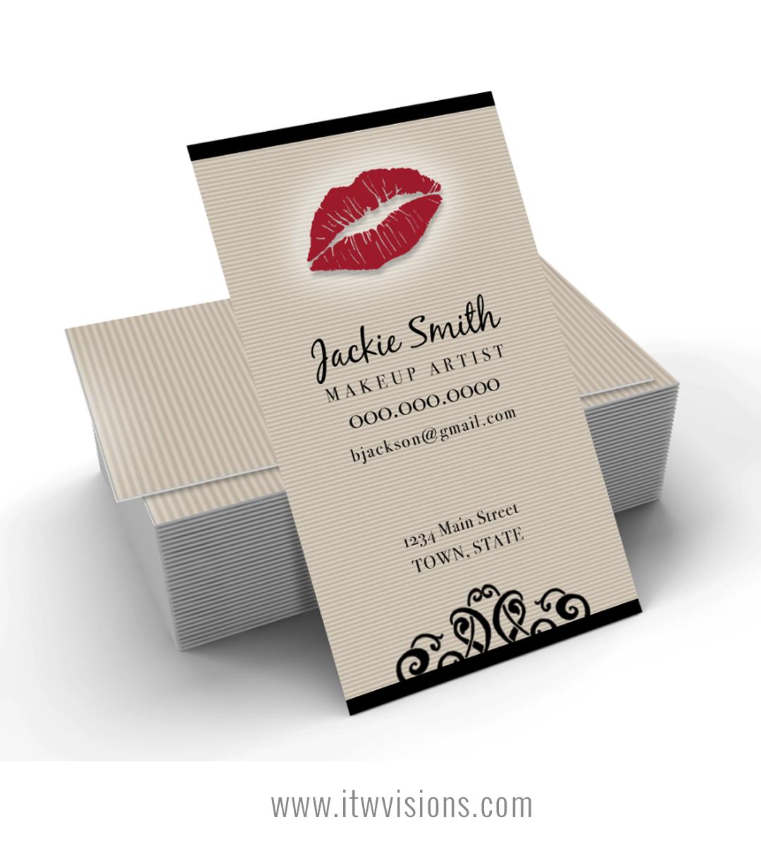 Makeup Artist Business Card Tan Pinstripes With Red Lips Itw Visions Makeup Artist Business Cards Makeup Business Cards Printing Business Cards