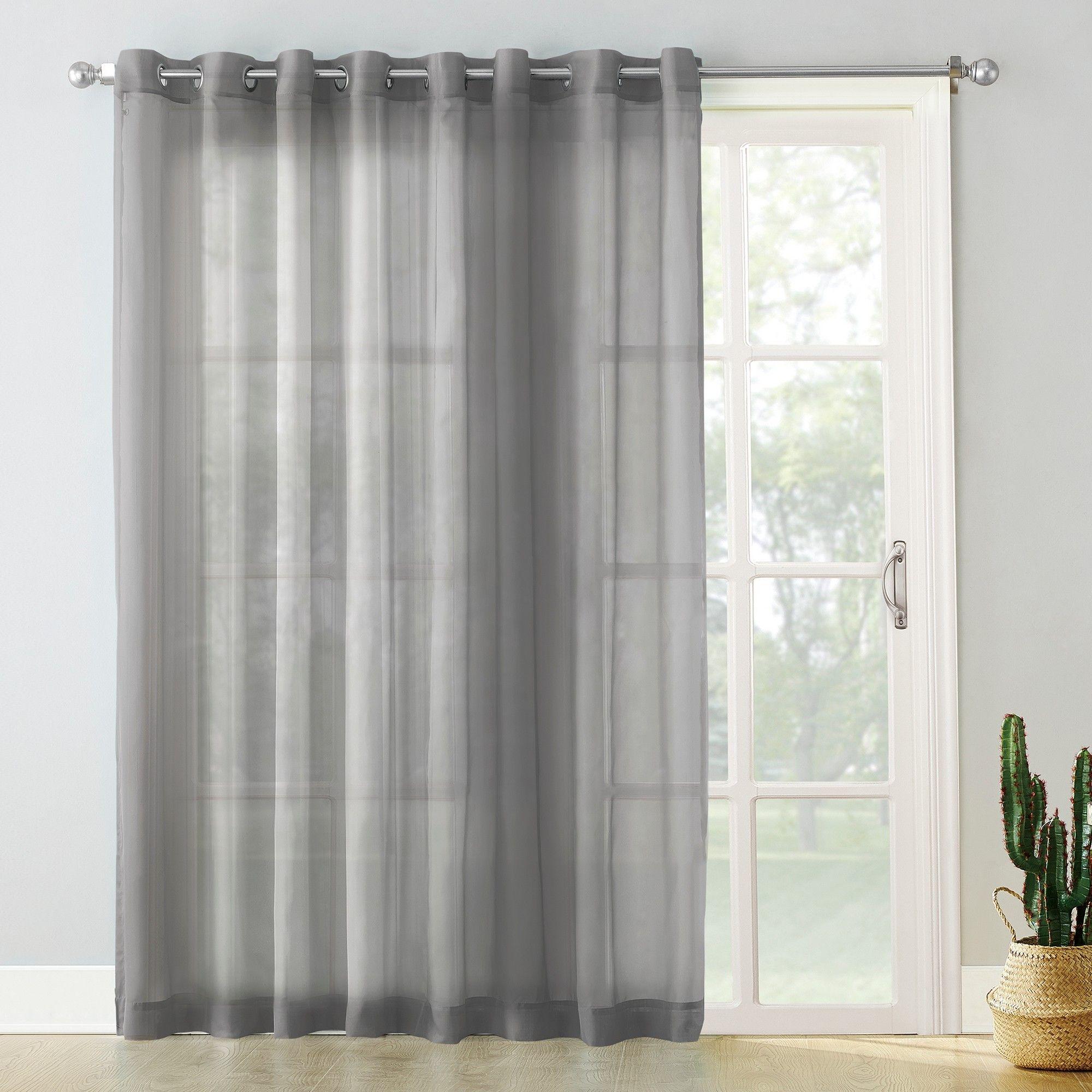 Emily Extra Wide Sheer Voile Sliding Door Patio Curtain Panel Charcoal 100 X84 No 918 Patio Door Curtains Sliding Patio Doors