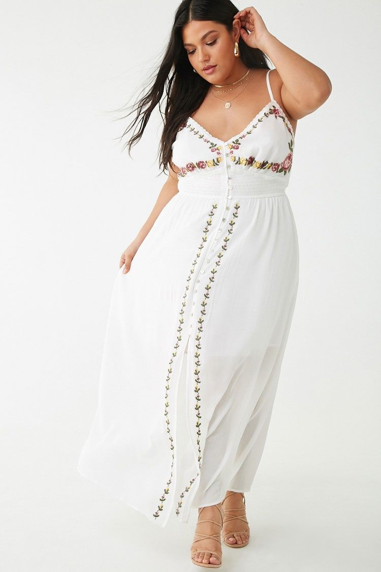 c8c1152f14d Plus Size Floral Embroidered Maxi Dress in 2019