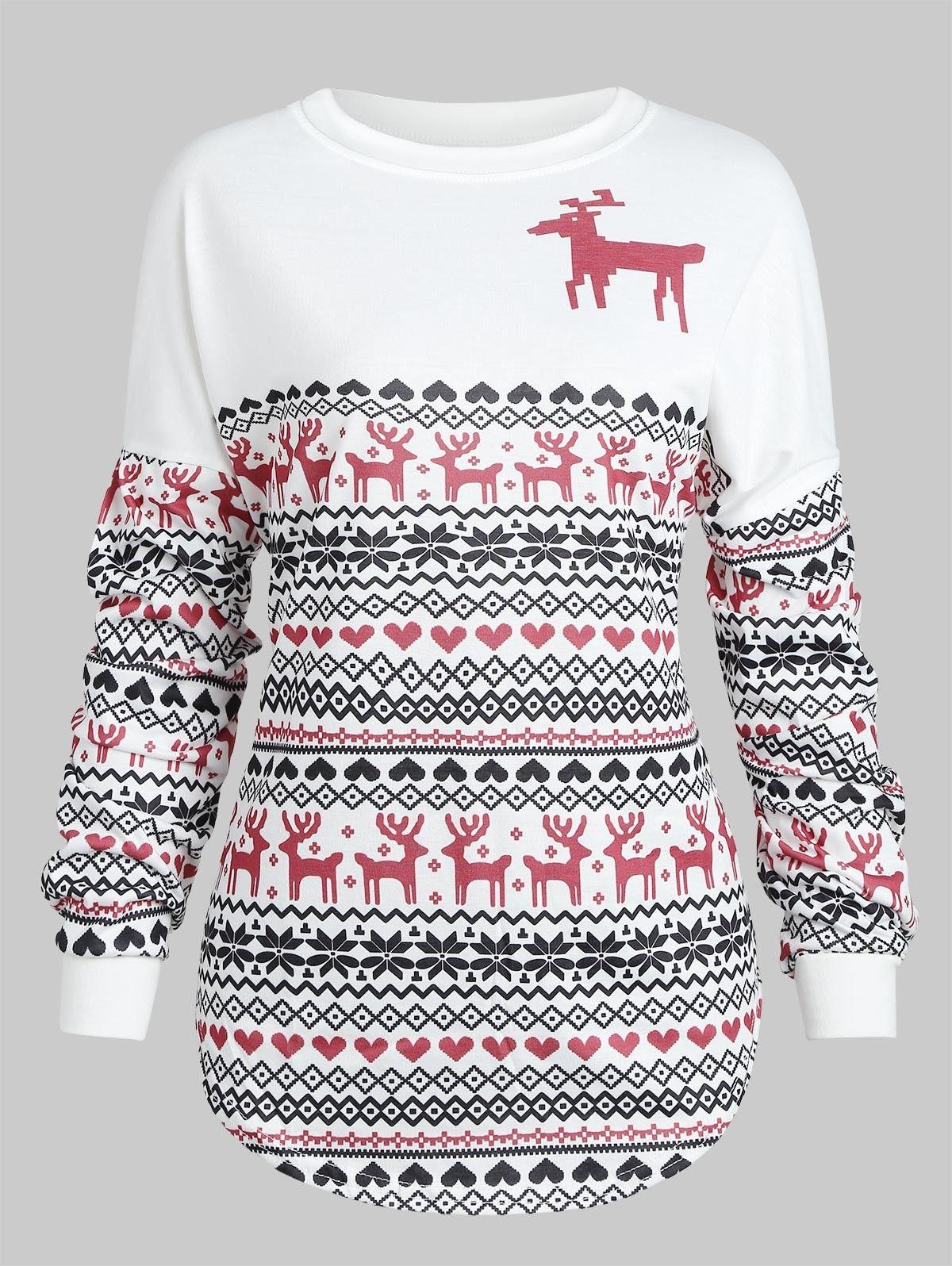 Christmas Reindeer Print Drop Shoulder Sweatshirt White 3t91999713 Size M Dropped Shoulder Sweatshirt Sweaters For Women Trendy Clothes For Women [ 1596 x 1200 Pixel ]