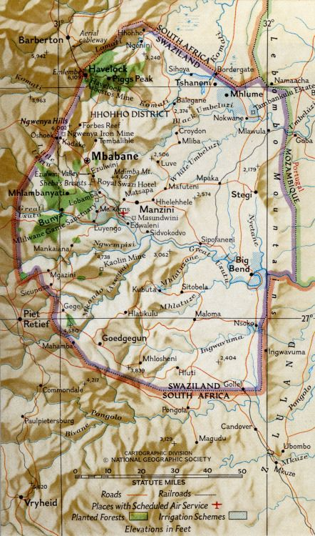 """Map of Swaziland.//From """"Swaziland Tries Independence,"""" National ..."""