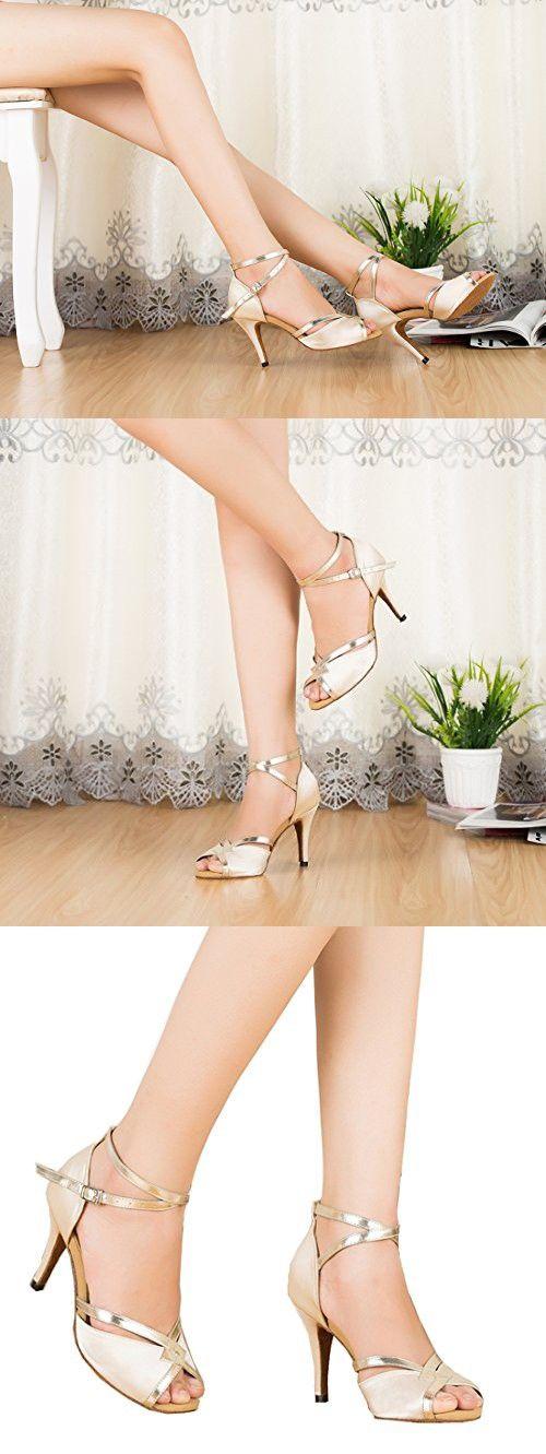 Tda Cm106 Womens Ankle Strap Beige Satin Latin Modern Samba Rumba