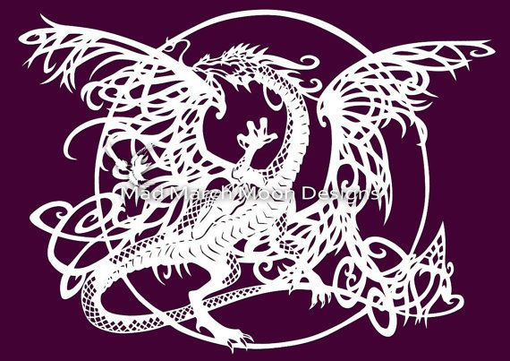 dragon cutout template - tangle dragon commercial use papercut template pdf