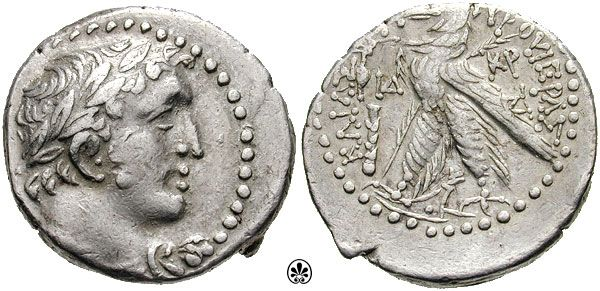 Phoenicia, Tyre AR Half-Shekel or Dridrachm. Year 114 = 13/12 BC. Laureate bust of Melkart right / Eagle standing left on prow, palm on right wing; PID & club to left, KP & a monogram to right. RPC 4644 cf (shekel).