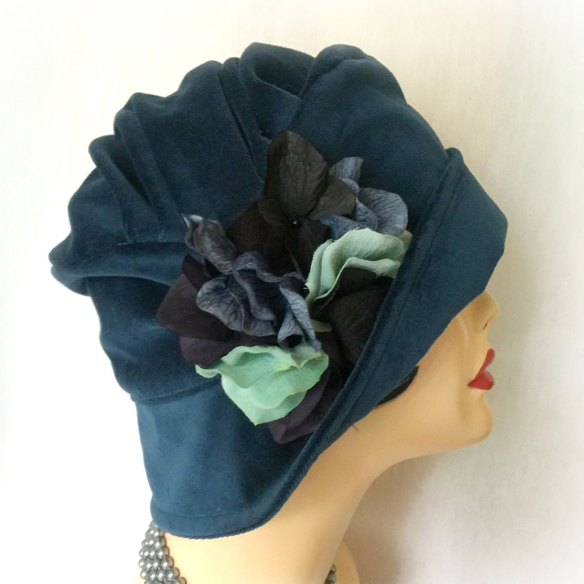 a2247bcd4a0a3 Downton Abbey Hat -The Alice Cloche - Blue Velvet Cloche - Women s Stylish  Cloche - Hydrangea Flower Pin - Fall Hat - Winter Hat - Spring Hat -  Handmade in ...