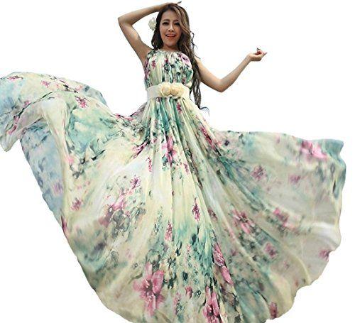 Yibeizi Women s Summer Floral Long Beach Maxi Dress Lightweight Sundress ( Length-135cm) Medeshe e7dcffa2e