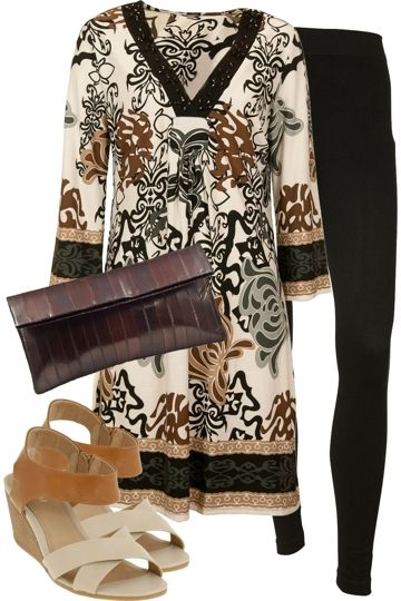 Monday, August 6 2012. A night out at a tropical paradise! A leaf inspired printed tunic with sparkling black detail along the neckline, which will draw attention! Wear with natural toned accessories and leggings.