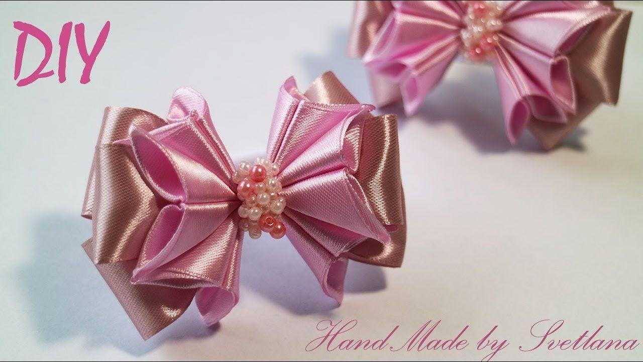 56aece9c92d Бантик из атласной ленты Канзаши DIY Satin ribbon bow Laco de fita Hair bow  Butikové Mašle