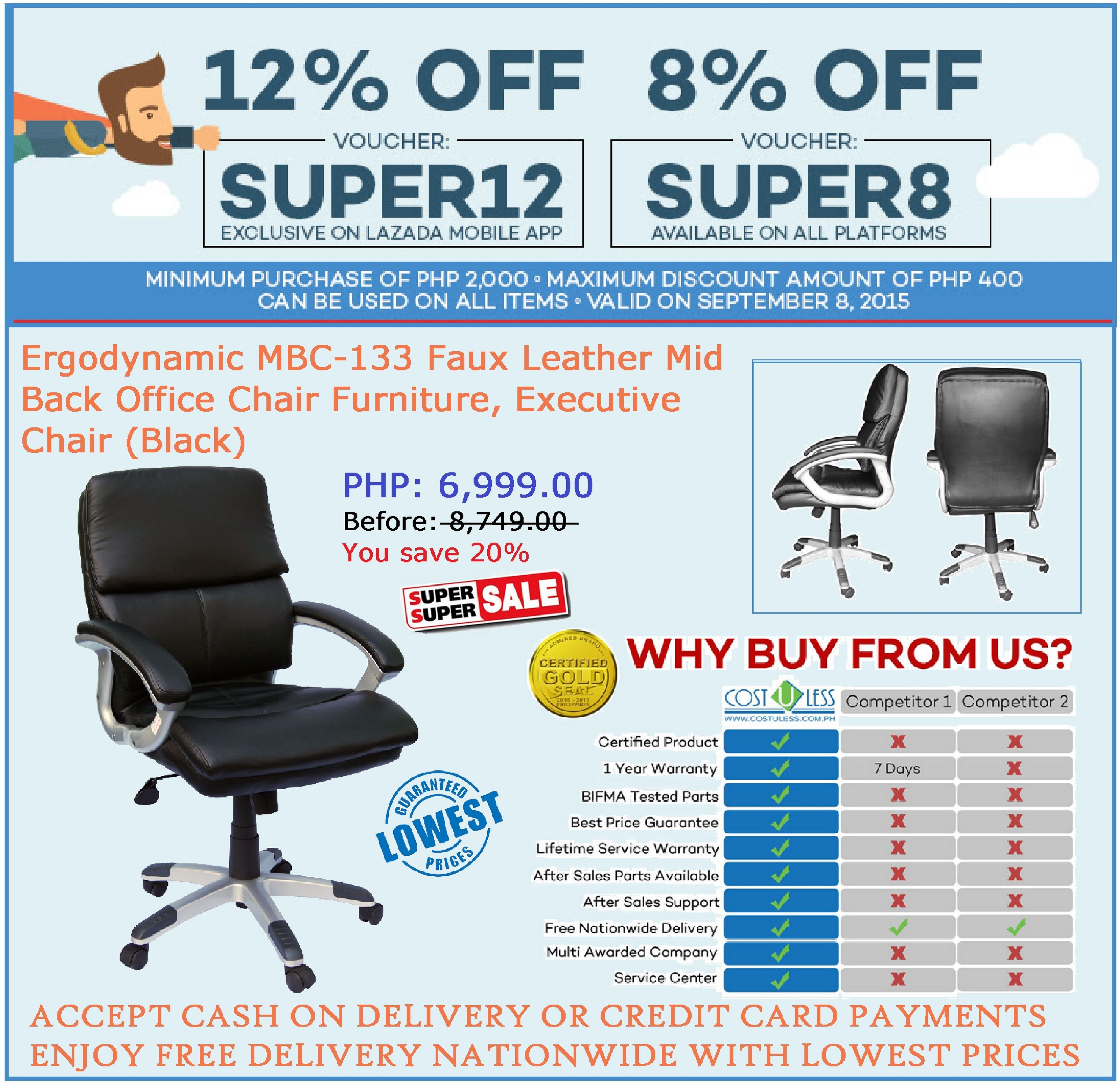 Office Furniture Lazada S Super September Promo Save 8 Up To 12 On Erynamic Mbc 133 Chair Use Voucher Code Super8 Available